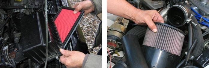 filtro de ar do carro em forma quadrada e redonda