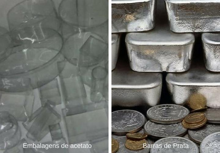 barras de ouro e acetado reciclados da radiografia