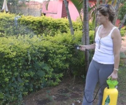 mulher pulverizando plantas