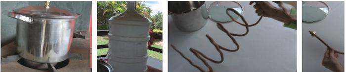 panela, garrafão, espiral de cobre, união de cobre
