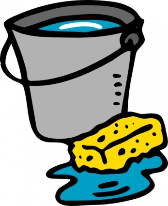 desenho de balde de limpeza com bucha