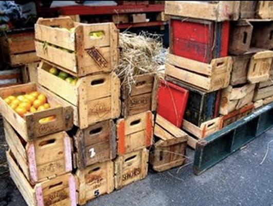 caixas de frutas de madeira
