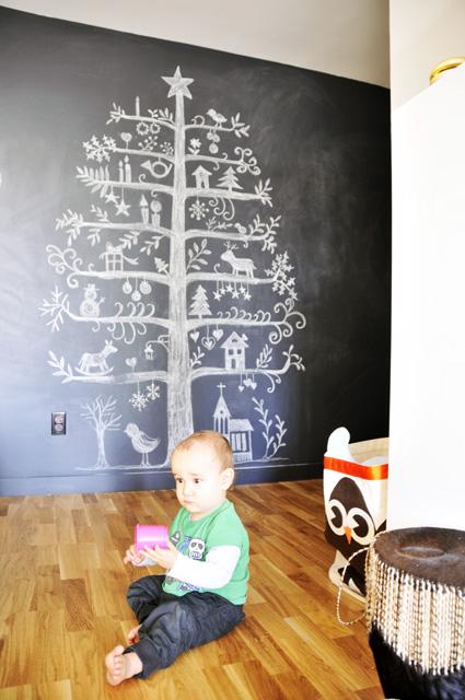 arvore pintada na parede