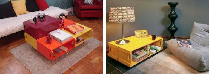 mesas de caixotes coloridas