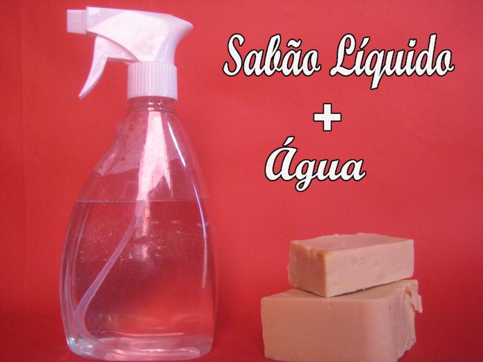 spray agua e sabão