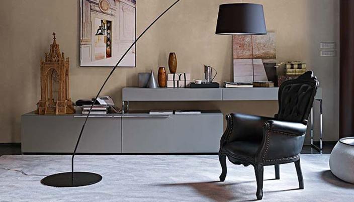 sofás clássicos com mobilia moderna