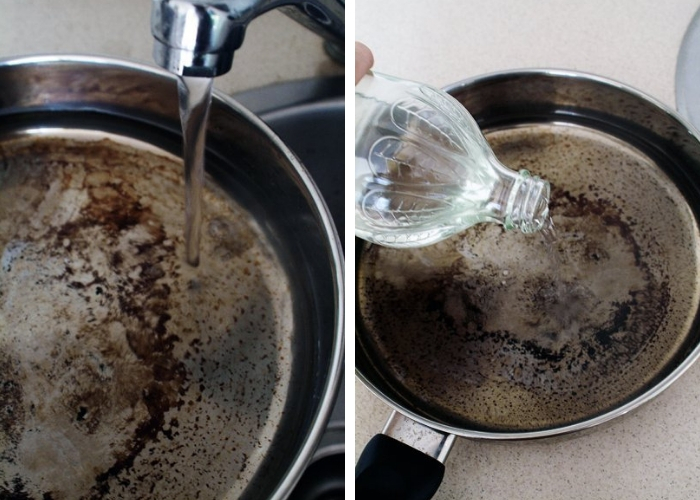 agua sobre panela suja