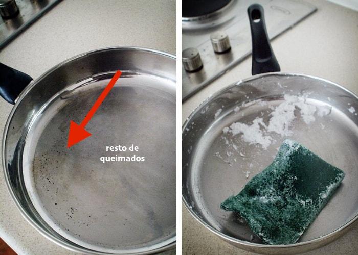 limpar panela queimada com pasta de bicarbonato
