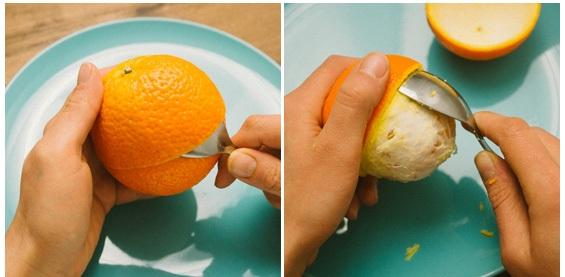 retirando a casaca da laranja com colher
