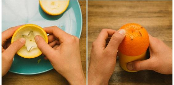 fazendo formas na casca de laranja