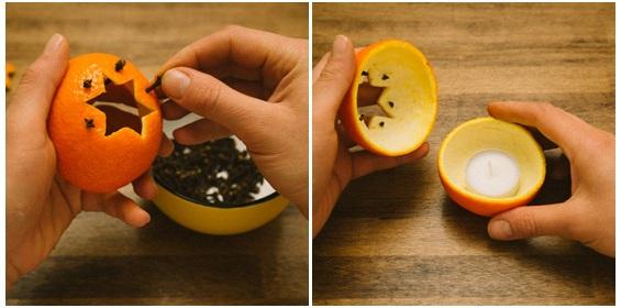 espetar cravos de cheiro na casca da laranja
