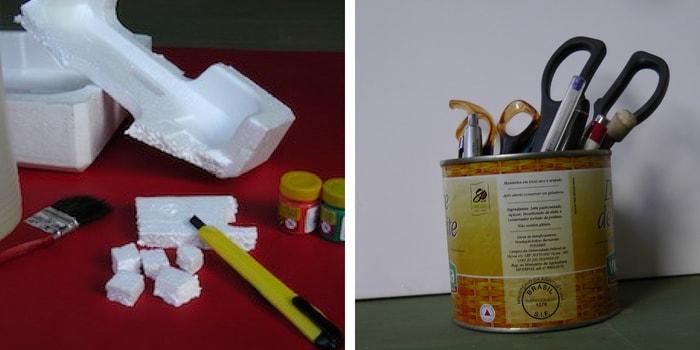 materiais porta lápis isopor