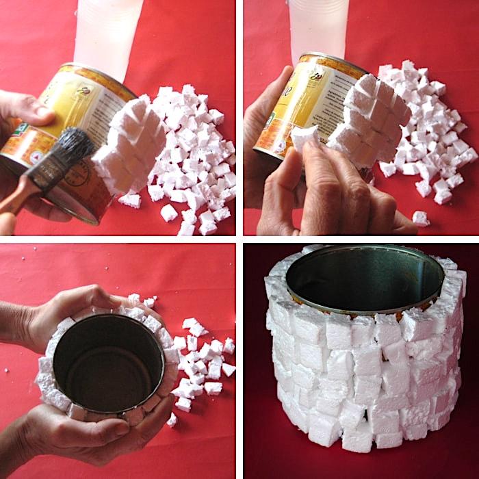 passar cola na lata, colar pedaços de isopor