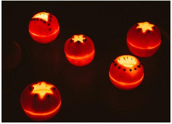 velas aromáticas laranja