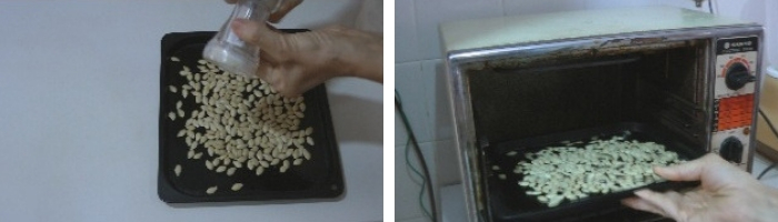 temperar e tostar semente de abóbora