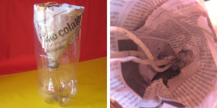 garrafa pet forrada com jornal