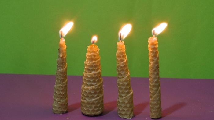 velas de cera de abelha de formato gradual