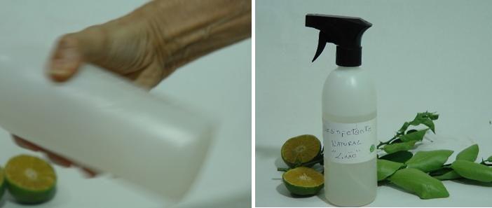 agitando garrafa spray e desinfetante pronto para uso