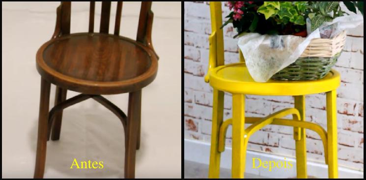 o antes e o depois da cadeira pintada com spray