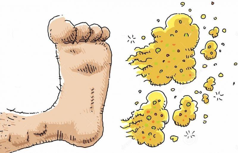 desenho de um pé mau cheiroso