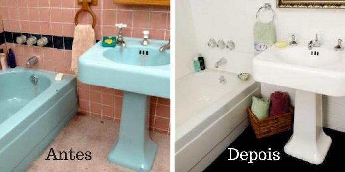antes e depois de pintar o azulejo do banheiro
