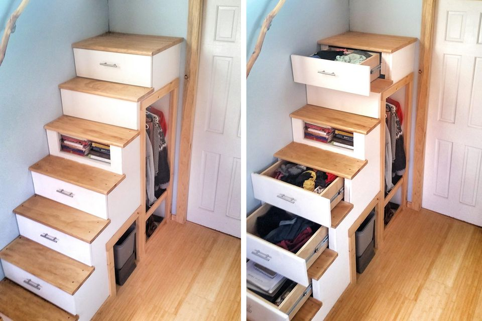 armazenamento casa pequena escada