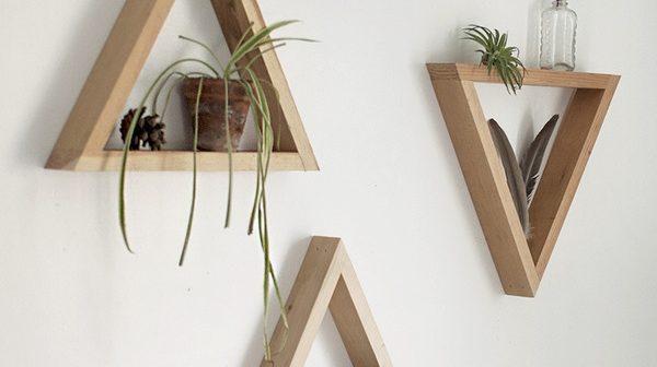 DIY Prateleiras em forma de Triângulo