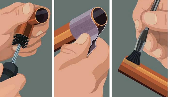preparando tubo de cobre para soldar