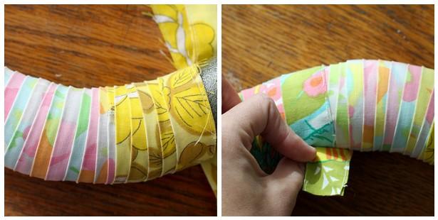 envolvendo a guirlanda com tecido