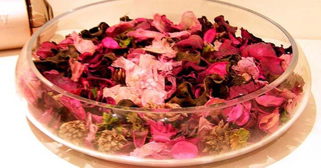 flores secas dentro de recipiente plano