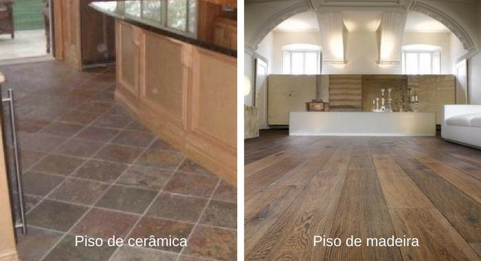 piso de ceramica e piso de madeira
