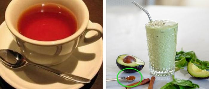 xícara de cha e colher de chá de semete de abacate