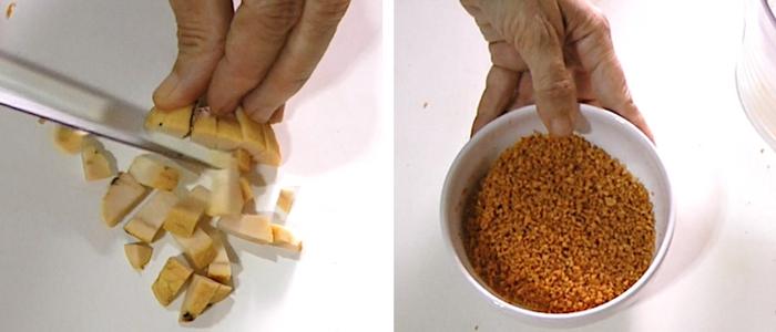homen picando semente de abacate com faca e tijela com semente de abacate triturada