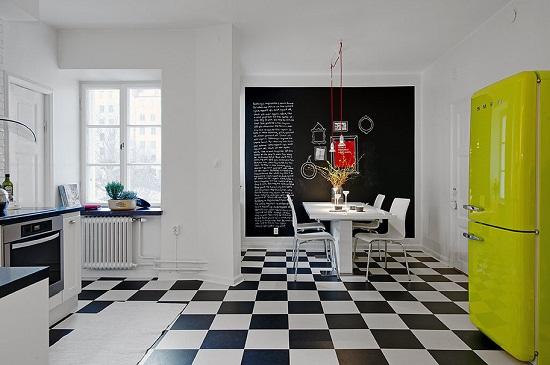 cozinha com piso ceramico xadrez