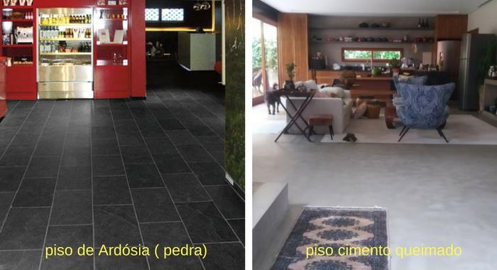 piso de ardósia e cimento queimado