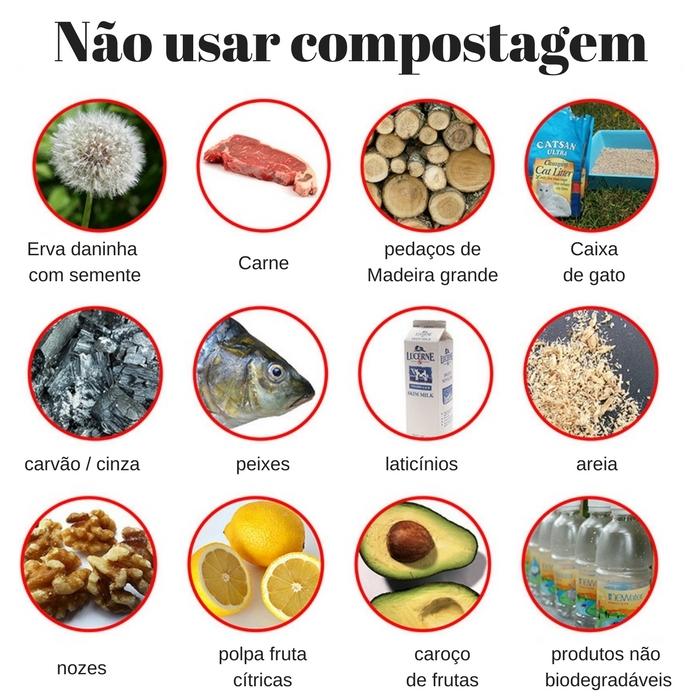 varios itens que nao se pode usar compostagem
