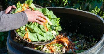 mulher jogando restos de comida num recipiente de compostagem