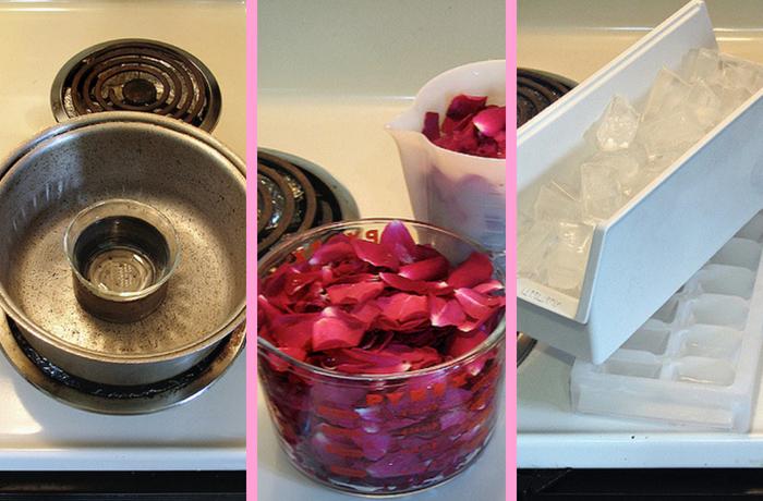 panela com água, pétalas de rosas e gelo