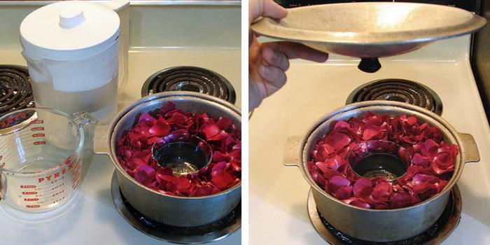 pétalas de rosas dentro de uma panela com agua