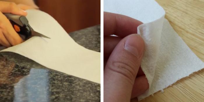 cortando e dobrando papel higiênico