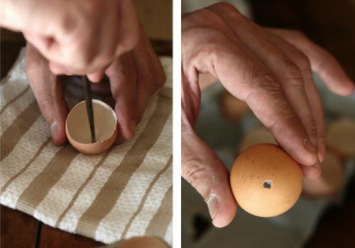 furando casca de ovo