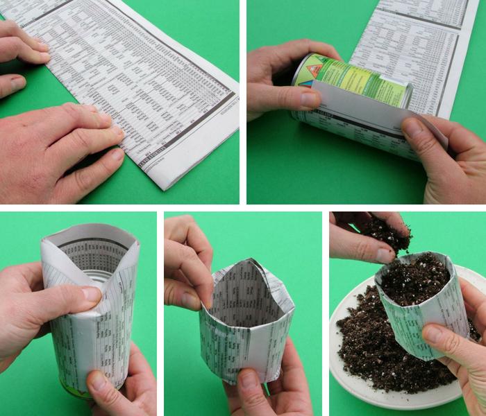 sementeira de papel jornal
