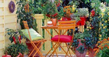 varanda com vegetais