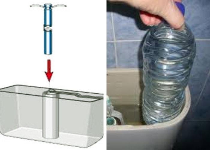 colocando garrafa pet dentro do reservatório de água da descarga