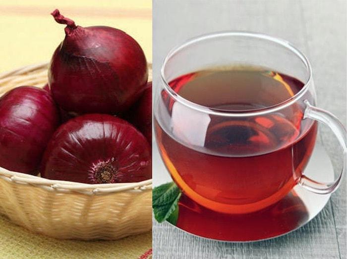 cebolas e xícara de chá