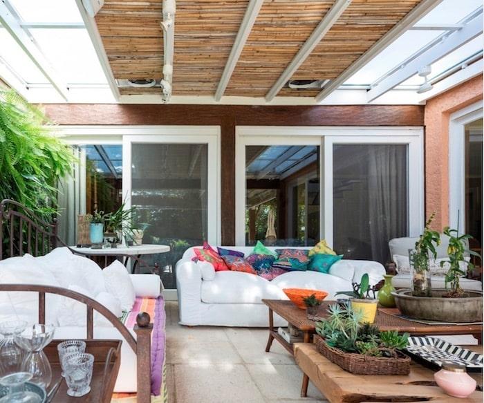 pátio teto bambu