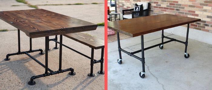 mesas com pé galvanizado