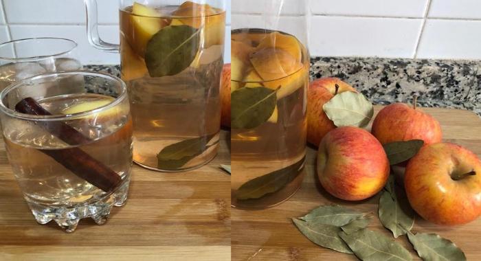 Chá de maçã e louro