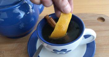 chá de casca de laranja e canela