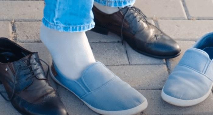 trocando sapato social por sapato de pano